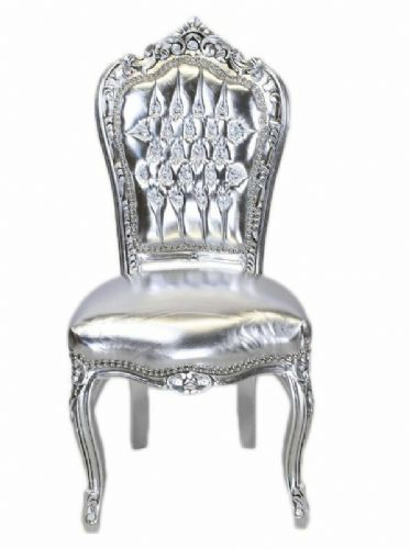 CHAIRS FRANCE BAROQUE STYLE DINING ROYAL CHAIR SILVER / SILVER # 60ST5